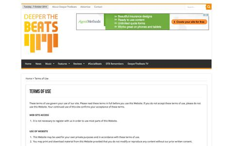 Screenshot of Terms Page deeperthebeats.com - Terms of Use | DeeperTheBeats - captured Oct. 7, 2014