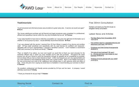 Screenshot of Testimonials Page awdlaw.co.uk - Testimonials | AWD Law - family law, residential property lawyers, mediation fareham, legal advice - captured Feb. 5, 2016