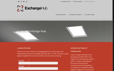 Screenshot of Contact Page exchangehub.com - Need Exchange or Messaging guidance? We can help.   ExchangeHub - captured Sept. 30, 2014