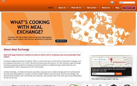 Screenshot of Home Page mealexchange.com - :: Meal Exchange :: - captured Jan. 27, 2015