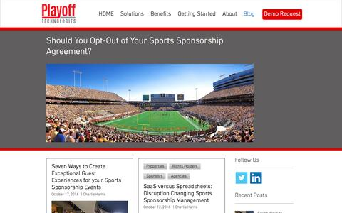 Screenshot of Blog playofftech.com - Playoff Technologies: Thought Leaders in Sports Sponsorship Management - captured Nov. 7, 2016
