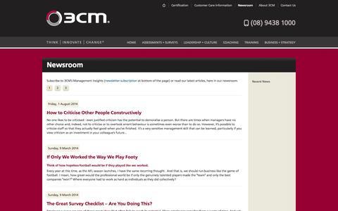 Screenshot of Press Page 3cm.com.au - 3CM Newsroom - 3CM® School of Management - captured Oct. 9, 2014