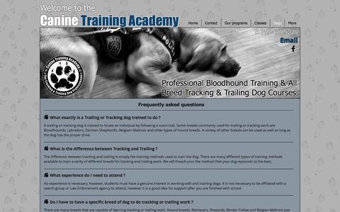 Screenshot of FAQ Page caninetrainingacademy.com - Canine Training Academy: Professional Tracking & Trailing Dog Courses - captured Oct. 21, 2016
