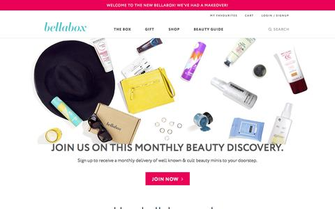 Screenshot of Home Page bellabox.com.au - Discover the most exciting cosmetics and beauty trends delivered in a box | bellabox Australia - captured Sept. 25, 2014