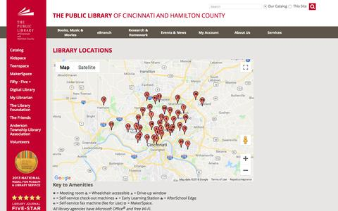 Screenshot of Locations Page cincinnatilibrary.org - Library Locations - captured Sept. 24, 2018