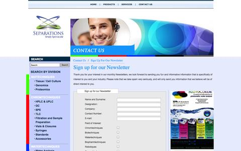 Screenshot of Signup Page separations.co.za - Sign Up For Our Newsletter - captured Sept. 30, 2014