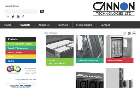 Screenshot of Products Page cannontech.co.uk - Products | Cannon Technologies | Enclosure Solutions - captured Jan. 25, 2016