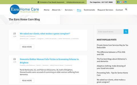 Screenshot of Blog ezrahomecare.com - Ezra Home Care's Blog - captured Feb. 2, 2016