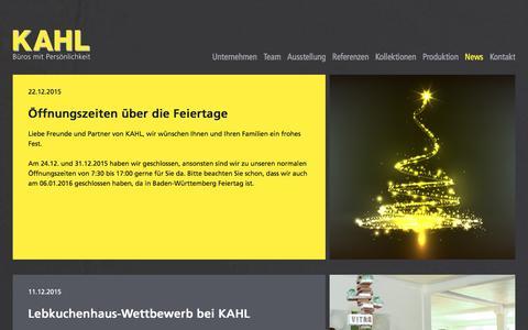 Screenshot of Press Page kahl.de - KAHL Büroeinrichtungen GmbH - Der Büroeinrichter und Objektausstatter in Mannheim und für die Metropolregion Rhein-Neckar - News - captured Jan. 21, 2016