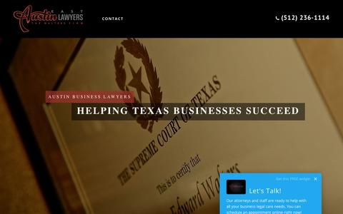 Screenshot of Home Page eastaustinlawyers.com - Austin Business Lawyers - The Walters Firm PLLCThe Walters Firm, PLLC - captured Nov. 5, 2017