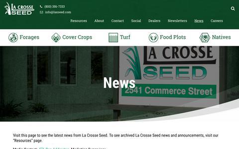 Screenshot of Press Page lacrosseseed.com - News - La Crosse Seed LLC - captured Feb. 19, 2018