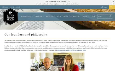 Screenshot of About Page beegood.co.uk - About Bee Good - Our history, philosophy and standards. - captured Oct. 5, 2018