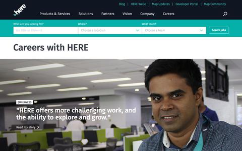 Screenshot of Jobs Page here.com - Careers at HERE | Work at HERE and Help Build the Future of Technology - captured Nov. 16, 2018