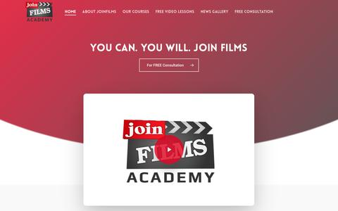 Screenshot of Home Page joinfilms.com - Joinfilms – Practical Courses & Workshops | Mumbai - captured Sept. 18, 2019