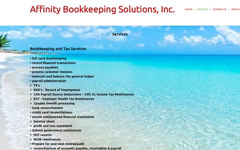 Screenshot of Services Page affinitybookkeeping.ca - Affinity Bookkeeping Solutions, Inc. - Services - captured Oct. 3, 2018