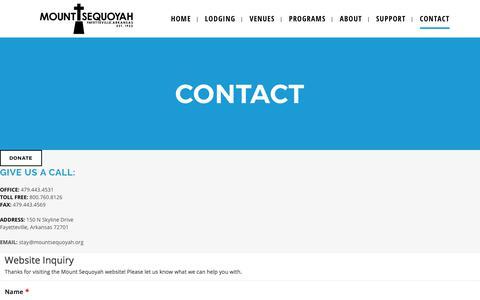 Screenshot of Contact Page mountsequoyah.org - Mount Sequoyah |   Contact - captured Oct. 21, 2017
