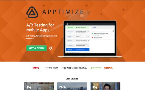 Screenshot of Landing Page apptimize.com - Apptimize A/B Testing for Mobile Apps - captured May 20, 2017