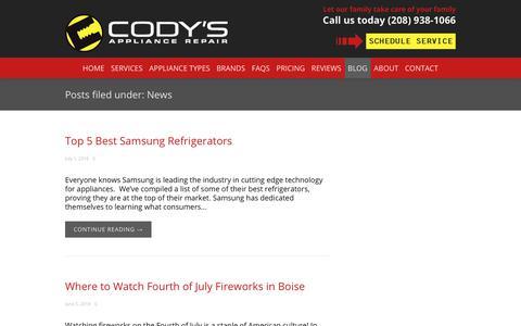 Screenshot of Press Page codysappliancerepair.com - Appliance Repair News - captured July 20, 2018