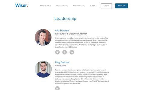 Screenshot of Team Page wiser.com - Wiser - Our Team - captured Oct. 20, 2016