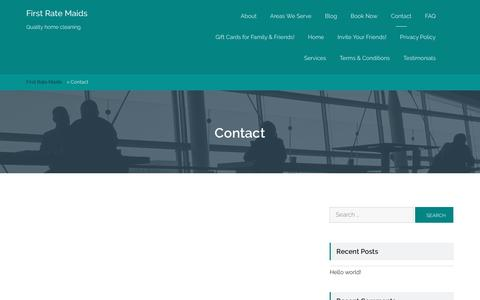 Screenshot of Contact Page firstratemaids.com - Contact - First Rate Maids - captured Aug. 3, 2016