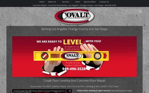 Screenshot of Home Page covaltleveling.com - Covalt Floor Leveling Floor Leveling, Concrete repair, Concrete Resurfacing - captured Jan. 23, 2015