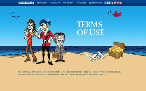 Screenshot of Terms Page piratebrands.com - Terms of Use | Pirate Brands - captured Sept. 17, 2014