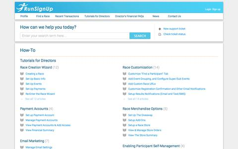 Screenshot of Support Page runsignup.com - Support : RunSignUp Helpdesk - captured July 7, 2018