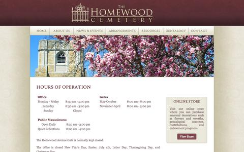 Screenshot of Hours Page thehomewoodcemetery.com - The Homewood Cemetery - captured Oct. 7, 2014