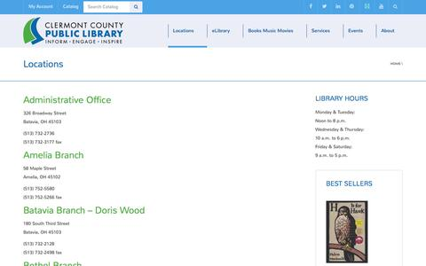 Screenshot of Locations Page clermontlibrary.org - Locations | Clermont County Public Library - captured Jan. 28, 2016