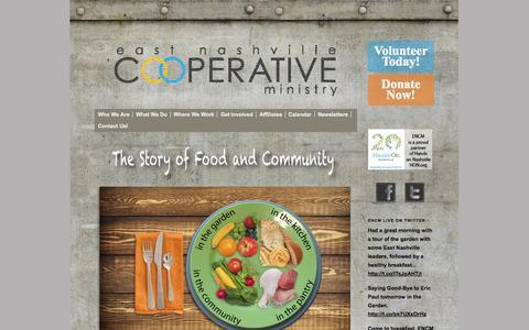 Screenshot of Home Page encm.org - East Nashville Cooperative Ministry - captured Oct. 1, 2014