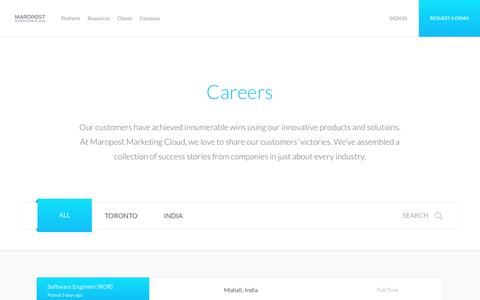 Screenshot of Jobs Page maropost.com - Careers at Maropost | Digital Marketing | Maropost Marketing Cloud - captured Nov. 11, 2016