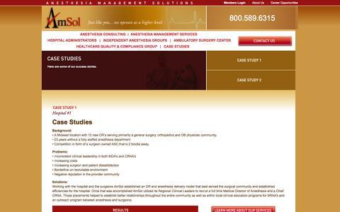 Screenshot of Case Studies Page amsolusa.com - Amsol - Case Studies - captured Oct. 4, 2014