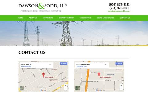 Screenshot of Contact Page dawsonsodd.com - Contact Us | Dawson & Sodd - captured Feb. 13, 2016