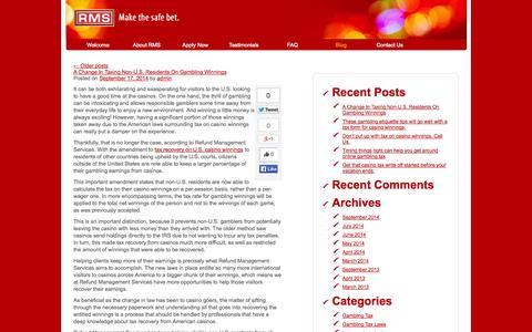 Screenshot of Blog refundmanagement.com - Refundmanagement Blog - Make the safe bet. - captured Oct. 7, 2014