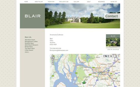 Screenshot of Privacy Page Contact Page blairestate.com - Blair Estate Scotland | Contact Details - captured Oct. 23, 2014