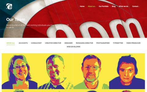 Screenshot of Team Page apmgraphics.com.au - Our Team    - captured July 5, 2018