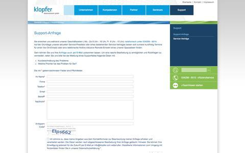 Screenshot of Support Page klopfer.com - Support-Anfrage - klopfer datennetzwerk gmbh - captured June 27, 2018