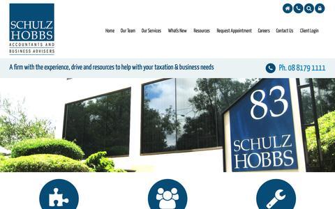 Screenshot of Menu Page schulzhobbs.com.au - Australian Accountants & Business Advisors, Schulz Hobbs, Wayville, South Australia - captured July 6, 2016