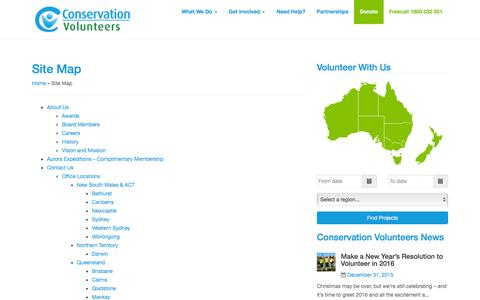 Screenshot of Site Map Page conservationvolunteers.com.au - Site Map - Conservation Volunteers Australia - captured Jan. 17, 2016