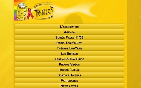 Screenshot of Menu Page tonics.asso.fr - Bienvenue  Asso Gay et Lesbienne d'Angers 49 Association lgbt Tonic's , Maine et Loire - captured June 2, 2016