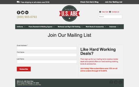 Screenshot of Signup Page usabe.com - U.S. ABE Join Our Mailing List - captured Oct. 1, 2014