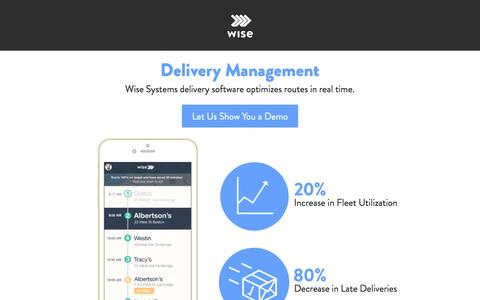 Screenshot of Landing Page wisesystems.com - Delivery Management by Wise Systems - captured Jan. 22, 2017