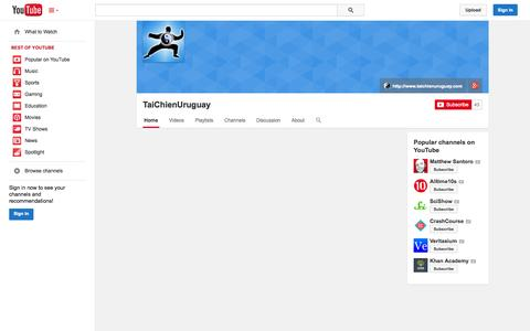 Screenshot of YouTube Page youtube.com - TaiChienUruguay  - YouTube - captured Oct. 26, 2014