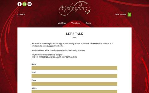 Screenshot of Contact Page artoftheflower.com.au - Contact Art of the Flower | Asquith Florist | Hornsby Flower Delivery - captured May 30, 2017
