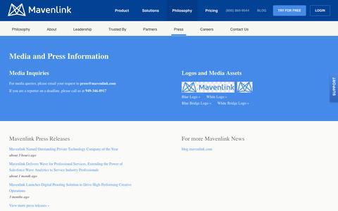 Screenshot of Press Page mavenlink.com - Media and Press Information - Mavenlink - captured Oct. 16, 2016