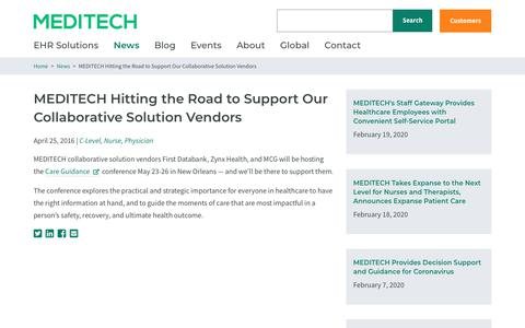 Screenshot of Support Page meditech.com - MEDITECH Hitting the Road to Support Our Collaborative Solution Vendors | MEDITECH - captured Feb. 20, 2020
