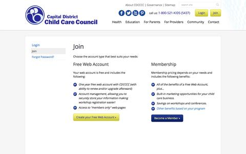 Screenshot of Signup Page cdcccc.org - Leading the Way to Quality Care :: Capital District Child Care Coordinating Council - captured Jan. 24, 2016