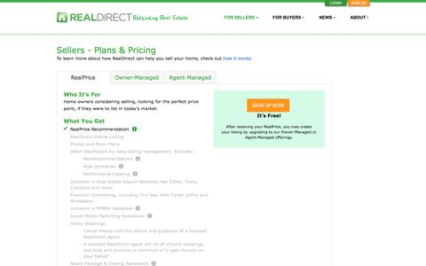 Screenshot of Pricing Page realdirect.com - RealDirect | Sellers - Plans & Pricing - captured Dec. 6, 2016