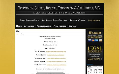 Screenshot of Contact Page Maps & Directions Page superiorlawoffices.com - Map and Driving Directions Torvinen, Jones, Routh, Torvinen & Saunders, S.C. Superior, WI (715) 394-7751 - captured Oct. 20, 2018
