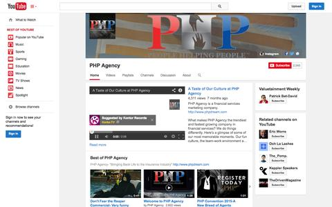 Screenshot of YouTube Page youtube.com - PHP Agency  - YouTube - captured Oct. 22, 2014